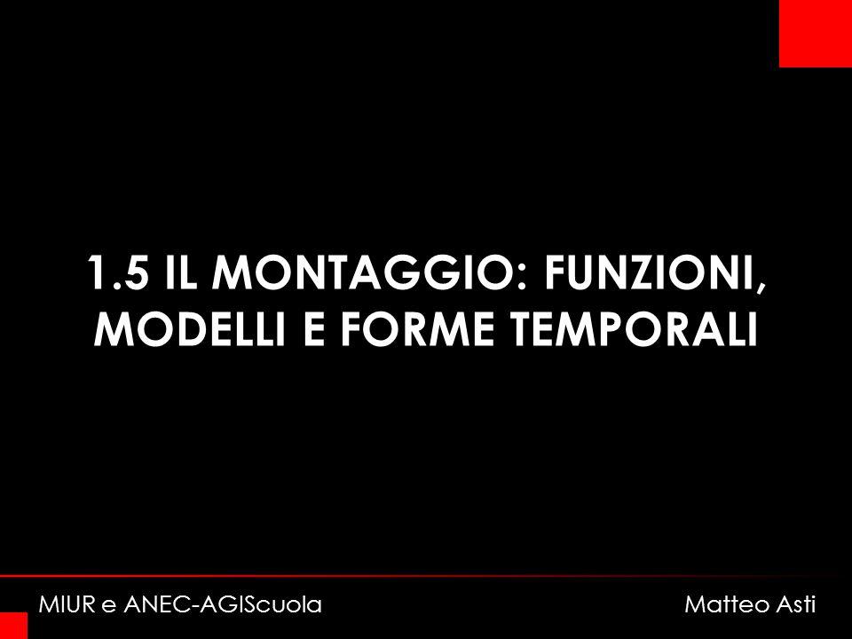 1.5 IL MONTAGGIO: FUNZIONI, MODELLI E FORME TEMPORALI MIUR e ANEC-AGIScuola Matteo Asti