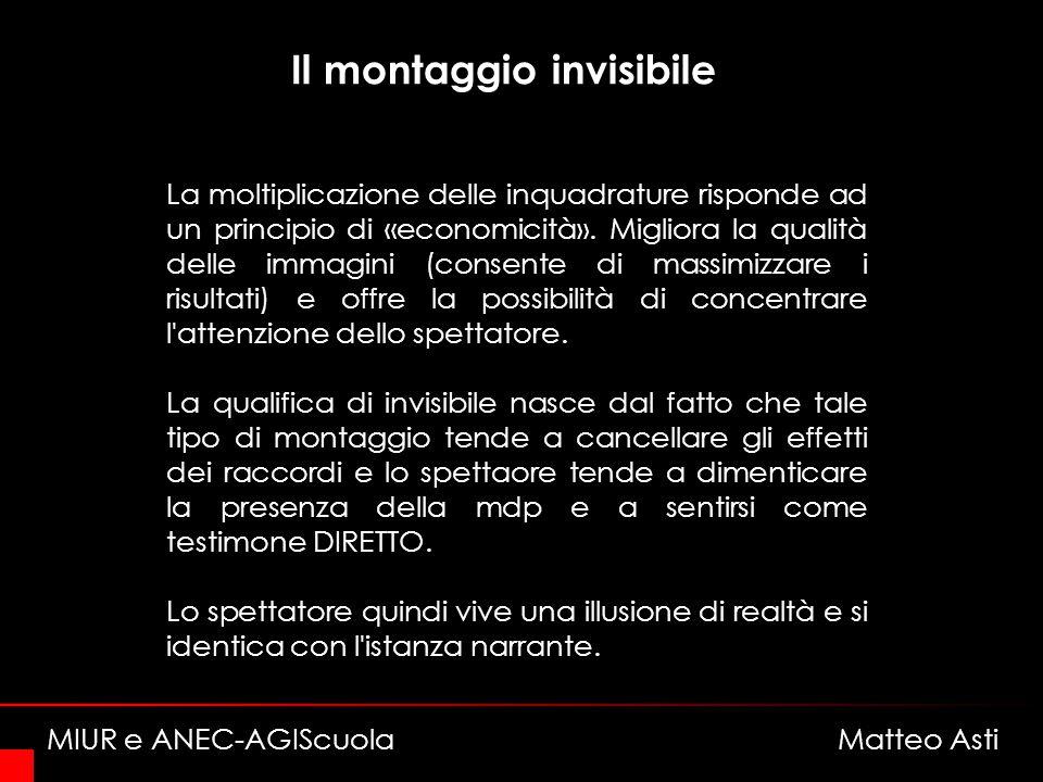 Il montaggio invisibile La moltiplicazione delle inquadrature risponde ad un principio di «economicità».