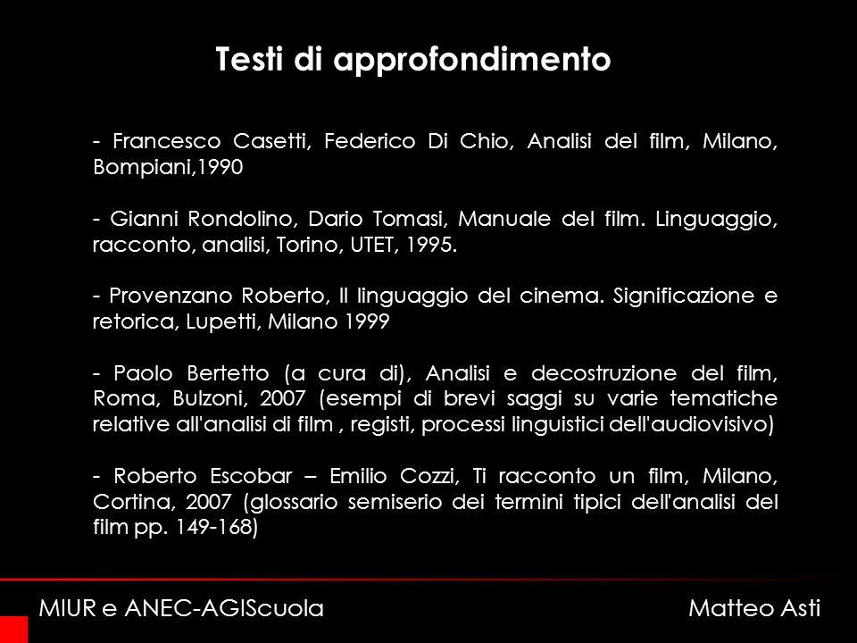 Testi di approfondimento - Francesco Casetti, Federico Di Chio, Analisi del film, Milano, Bompiani,1990 - Gianni Rondolino, Dario Tomasi, Manuale del film.