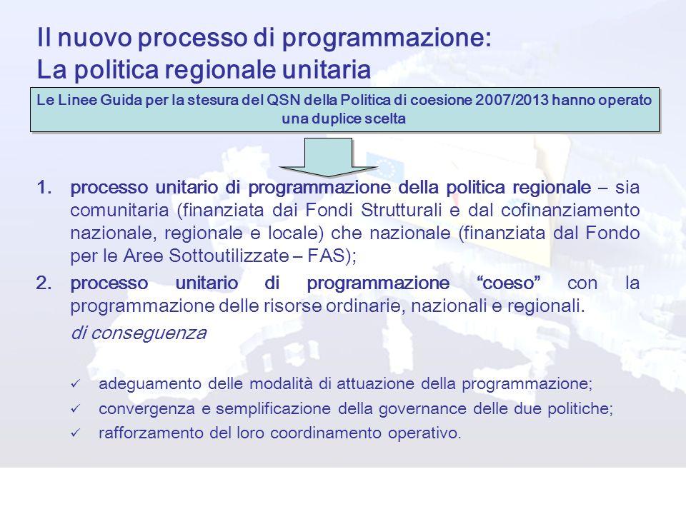 Il nuovo processo di programmazione: La politica regionale unitaria 1.processo unitario di programmazione della politica regionale – sia comunitaria (
