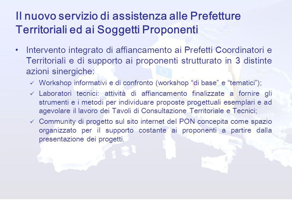 Il nuovo servizio di assistenza alle Prefetture Territoriali ed ai Soggetti Proponenti Intervento integrato di affiancamento ai Prefetti Coordinatori