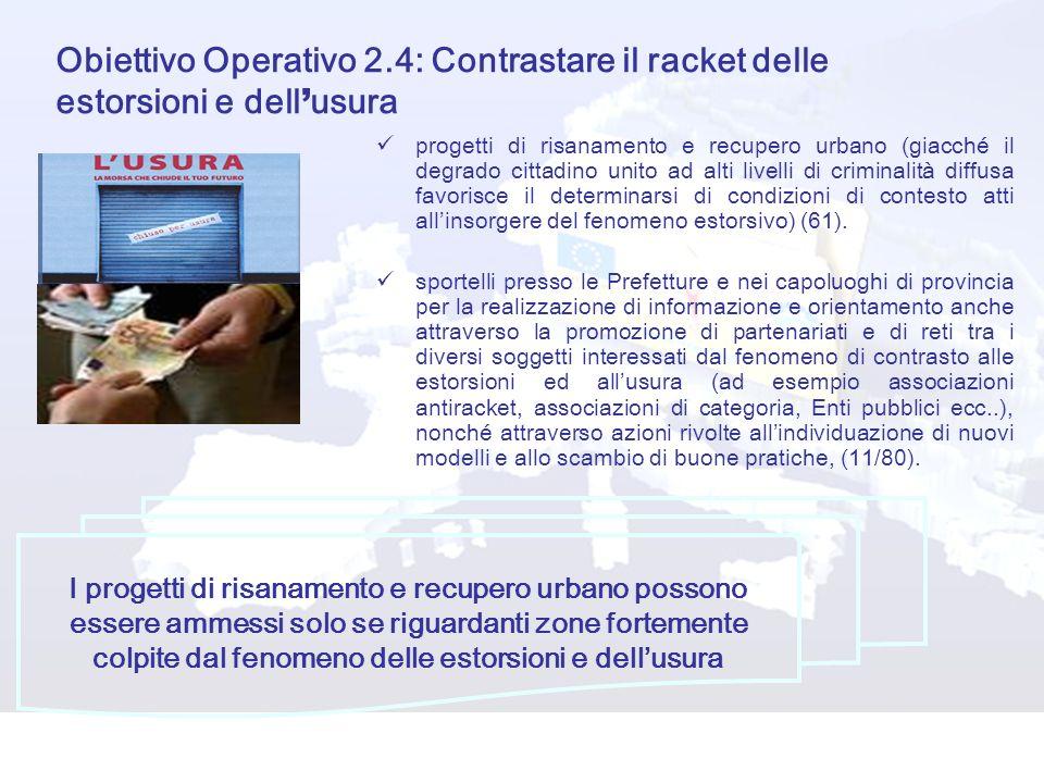 Obiettivo Operativo 2.4: Contrastare il racket delle estorsioni e dell usura progetti di risanamento e recupero urbano (giacché il degrado cittadino u