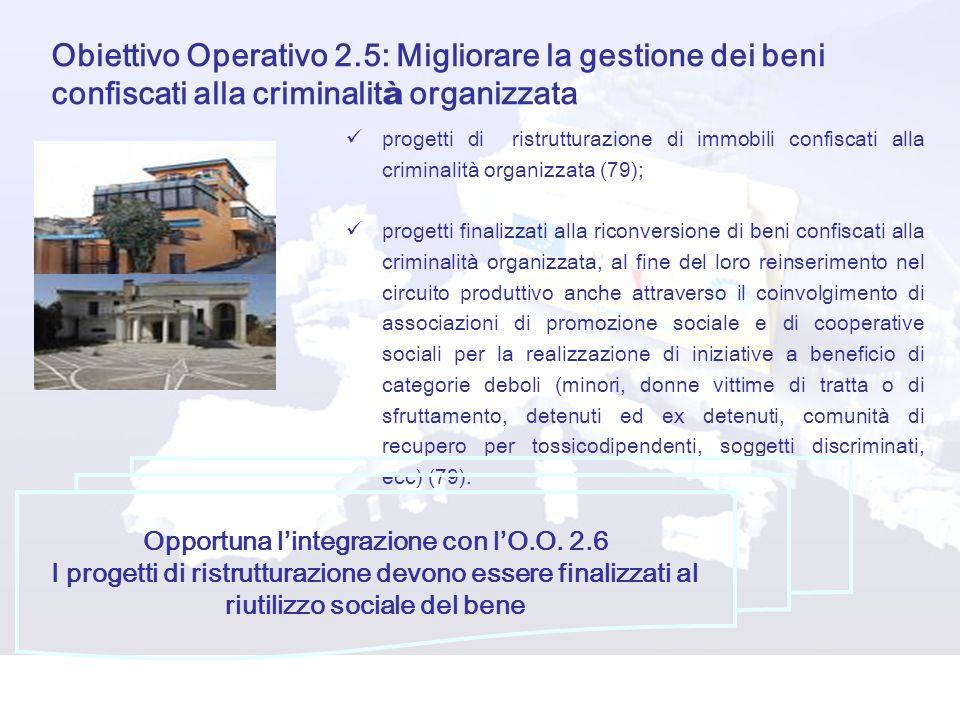 Obiettivo Operativo 2.5: Migliorare la gestione dei beni confiscati alla criminalit à organizzata progetti di ristrutturazione di immobili confiscati