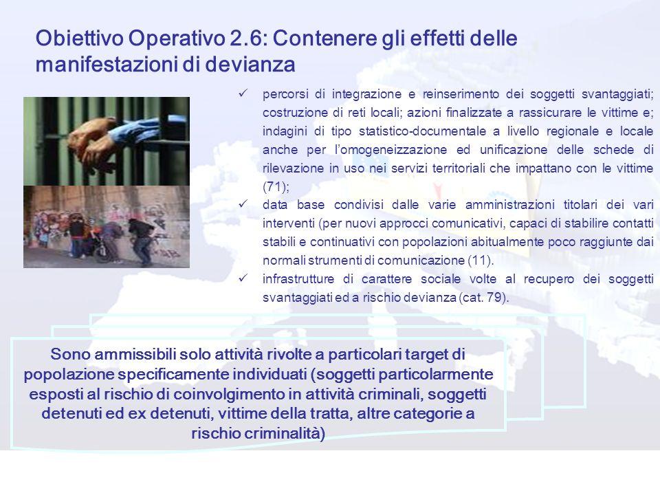 Obiettivo Operativo 2.6: Contenere gli effetti delle manifestazioni di devianza percorsi di integrazione e reinserimento dei soggetti svantaggiati; co