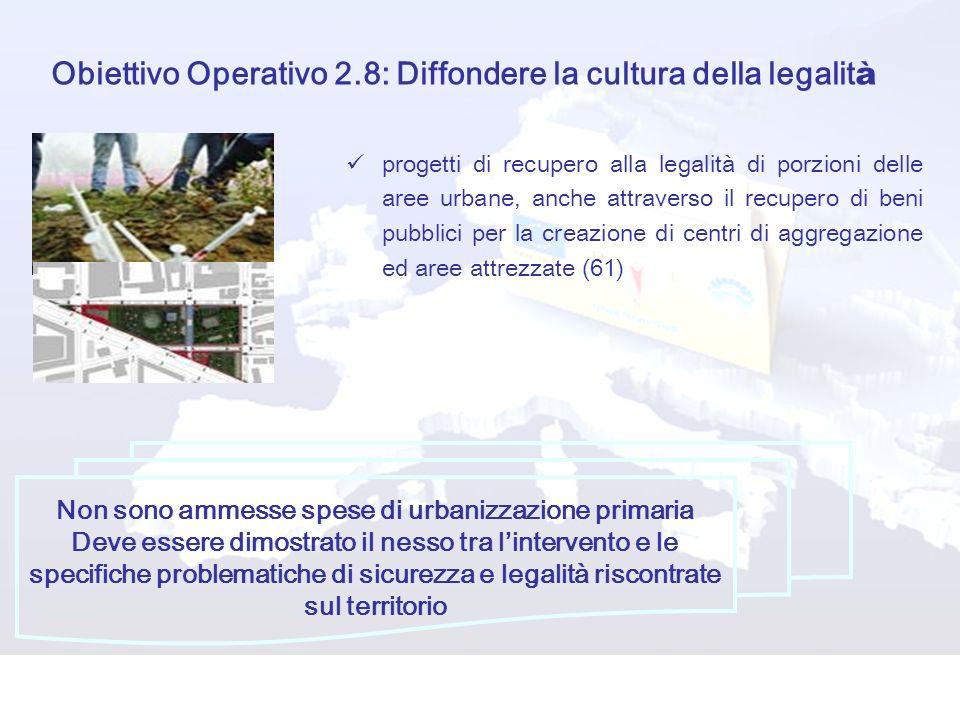 Obiettivo Operativo 2.8: Diffondere la cultura della legalit à progetti di recupero alla legalità di porzioni delle aree urbane, anche attraverso il r
