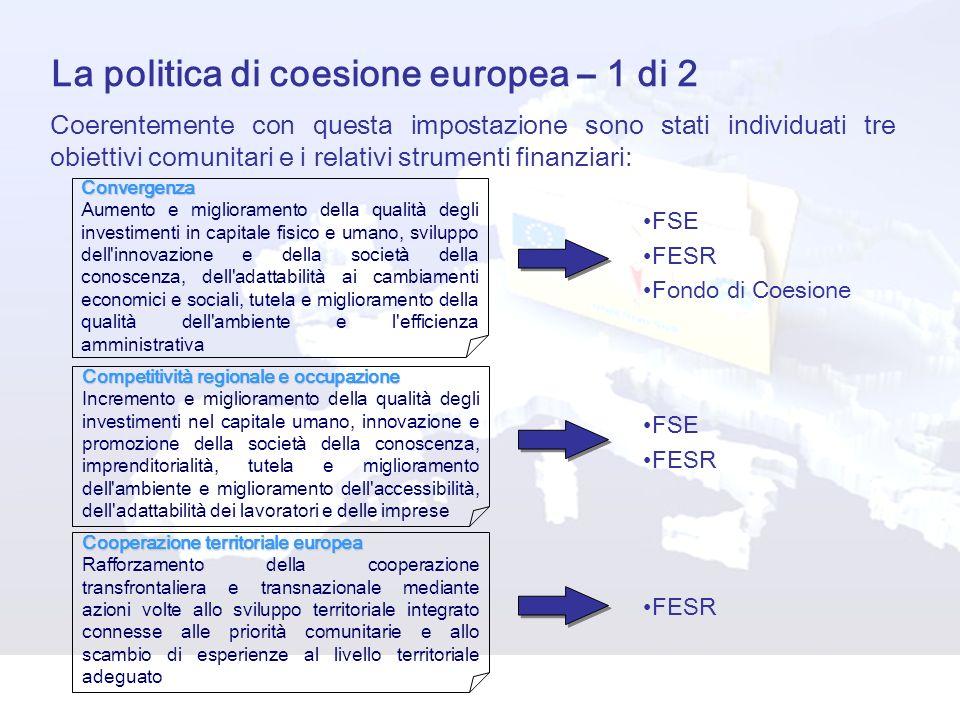La politica di coesione europea – 1 di 2 Coerentemente con questa impostazione sono stati individuati tre obiettivi comunitari e i relativi strumenti finanziari:Convergenza Aumento e miglioramento della qualità degli investimenti in capitale fisico e umano, sviluppo dell innovazione e della società della conoscenza, dell adattabilità ai cambiamenti economici e sociali, tutela e miglioramento della qualità dell ambiente e l efficienza amministrativa Competitività regionale e occupazione Incremento e miglioramento della qualità degli investimenti nel capitale umano, innovazione e promozione della società della conoscenza, imprenditorialità, tutela e miglioramento dell ambiente e miglioramento dell accessibilità, dell adattabilità dei lavoratori e delle imprese Cooperazione territoriale europea Rafforzamento della cooperazione transfrontaliera e transnazionale mediante azioni volte allo sviluppo territoriale integrato connesse alle priorità comunitarie e allo scambio di esperienze al livello territoriale adeguato FSE FESR Fondo di Coesione FSE FESR