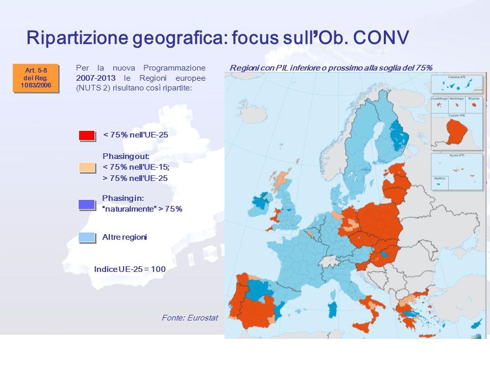 Ripartizione geografica: focus sull Ob. CONV < 75% nellUE-25 Phasing out: < 75% nellUE-15; > 75% nellUE-25 Altre regioni Indice UE-25 = 100 Fonte: Eur