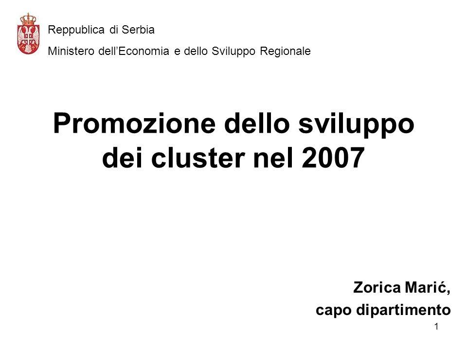 1 Promozione dello sviluppo dei cluster nel 2007 Zorica Marić, capo dipartimento Reppublica di Serbia Ministero dellEconomia e dello Sviluppo Regionale