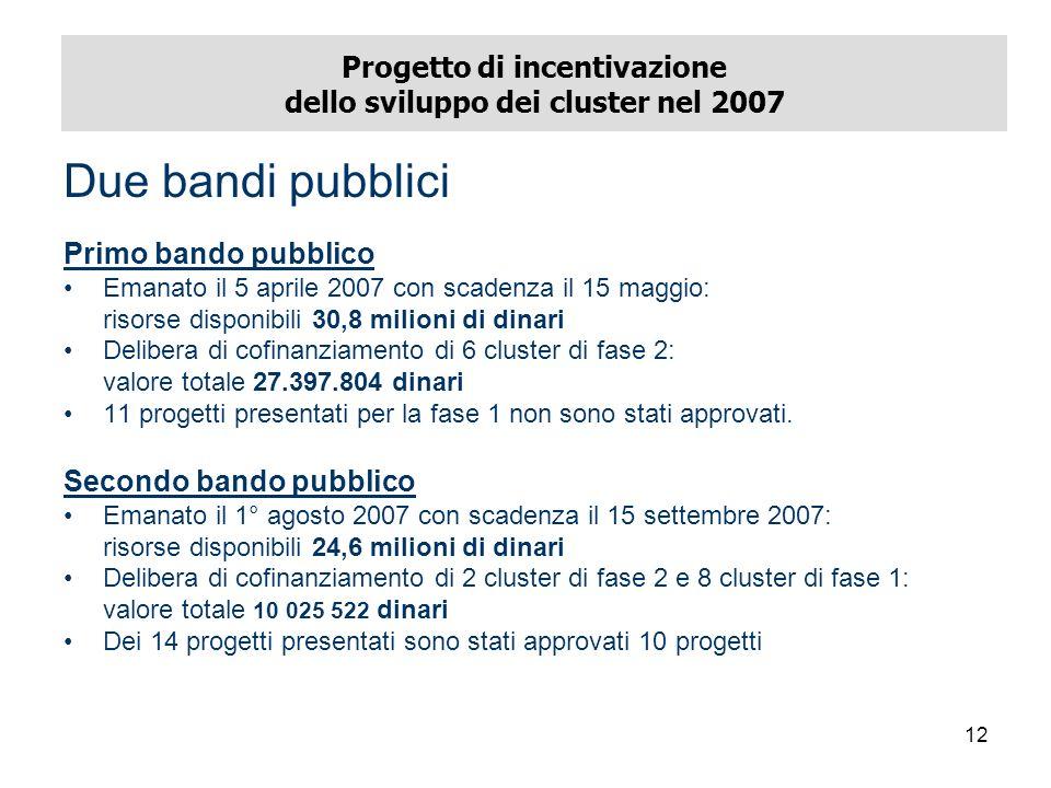 12 Progetto di incentivazione dello sviluppo dei cluster nel 2007 Due bandi pubblici Primo bando pubblico Emanato il 5 aprile 2007 con scadenza il 15 maggio: risorse disponibili 30,8 milioni di dinari Delibera di cofinanziamento di 6 cluster di fase 2: valore totale 27.397.804 dinari 11 progetti presentati per la fase 1 non sono stati approvati.