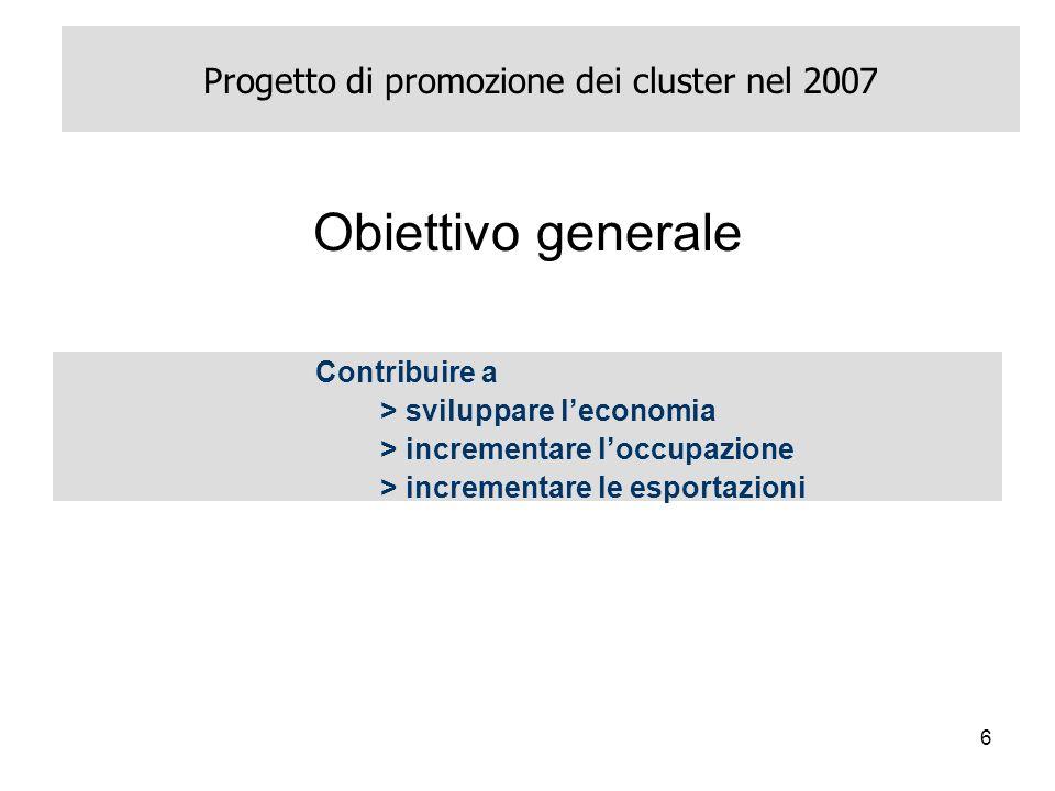 6 Progetto di promozione dei cluster nel 2007 Contribuire a > sviluppare leconomia > incrementare loccupazione > incrementare le esportazioni Obiettivo generale
