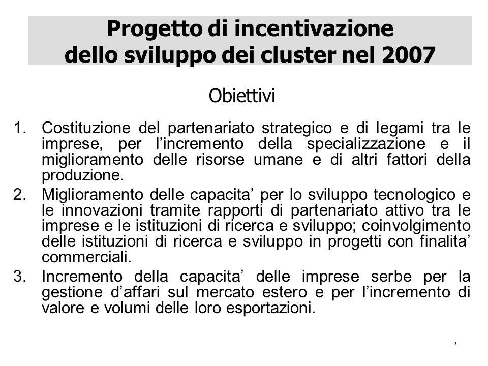 7 Obiettivi 1.Costituzione del partenariato strategico e di legami tra le imprese, per lincremento della specializzazione e il miglioramento delle risorse umane e di altri fattori della produzione.
