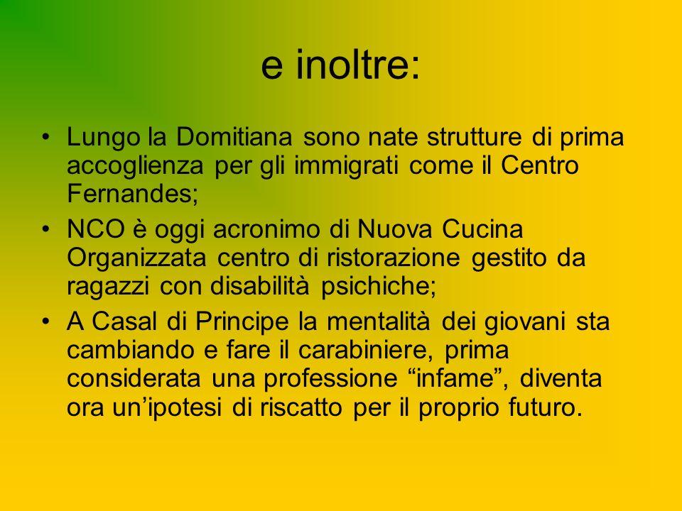 e inoltre: Lungo la Domitiana sono nate strutture di prima accoglienza per gli immigrati come il Centro Fernandes; NCO è oggi acronimo di Nuova Cucina