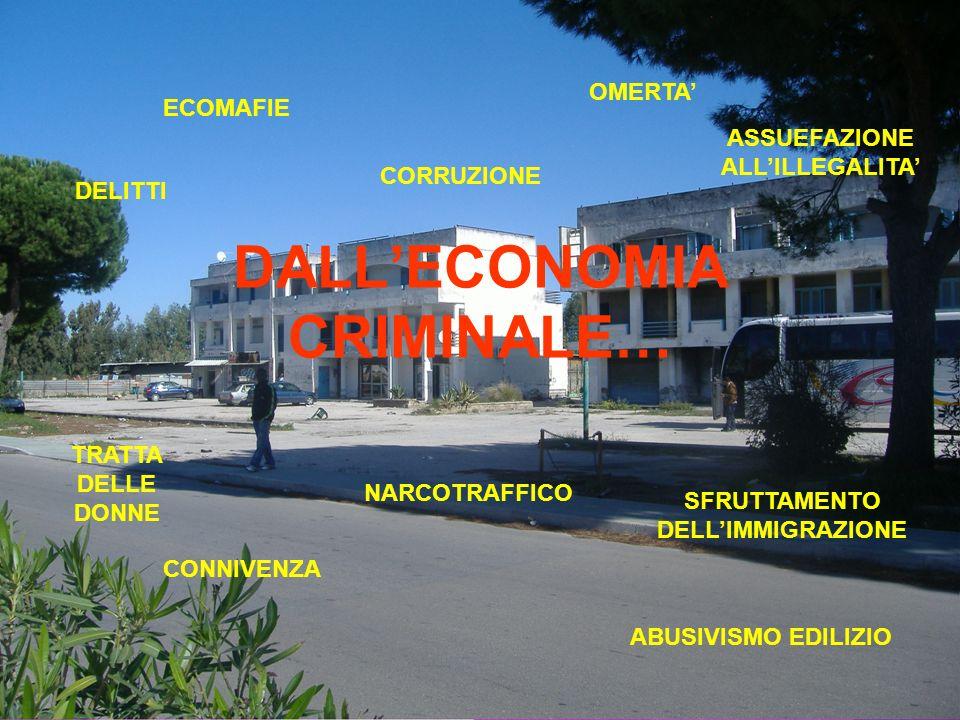 DALLECONOMIA CRIMINALE… ABUSIVISMO EDILIZIO ECOMAFIE CORRUZIONE CONNIVENZA SFRUTTAMENTO DELLIMMIGRAZIONE OMERTA ASSUEFAZIONE ALLILLEGALITA NARCOTRAFFICO TRATTA DELLE DONNE DELITTI