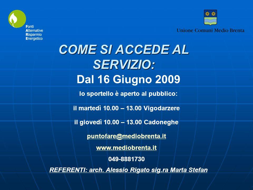 puntofare@mediobrenta.it www.mediobrenta.it 049-8881730 COME SI ACCEDE AL SERVIZIO: Dal 16 Giugno 2009 lo sportello è aperto al pubblico: il martedì 10.00 – 13.00 Vigodarzere il giovedì 10.00 – 13.00 Cadoneghe REFERENTI: arch.