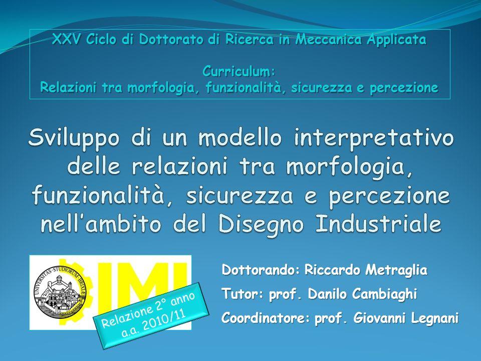 Dottorando: Riccardo Metraglia Tutor: prof. Danilo Cambiaghi Coordinatore: prof. Giovanni Legnani XXV Ciclo di Dottorato di Ricerca in Meccanica Appli