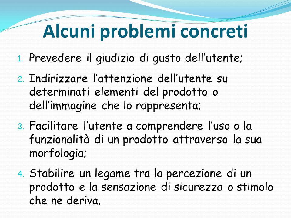 Alcuni problemi concreti 1. Prevedere il giudizio di gusto dellutente; 2. Indirizzare lattenzione dellutente su determinati elementi del prodotto o de
