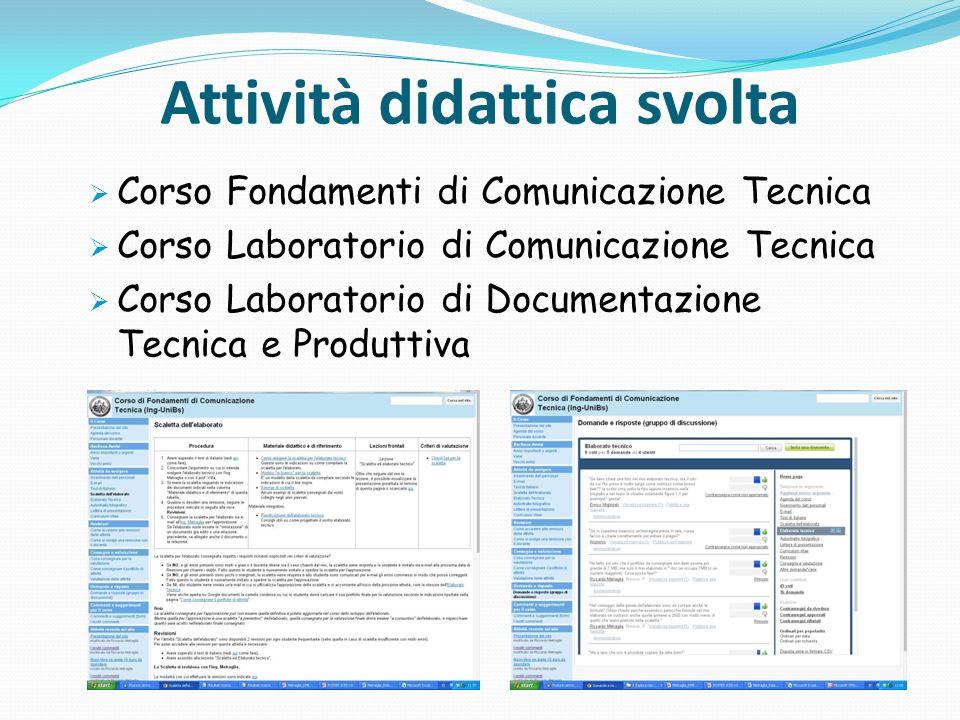 Attività didattica svolta Corso Fondamenti di Comunicazione Tecnica Corso Laboratorio di Comunicazione Tecnica Corso Laboratorio di Documentazione Tec