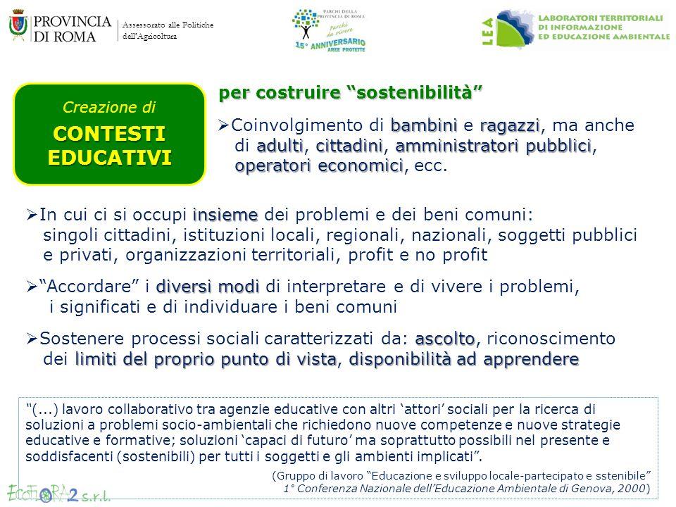 Assessorato alle Politiche dellAgricoltura Creazione diCONTESTIEDUCATIVI per costruire sostenibilità insieme In cui ci si occupi insieme dei problemi