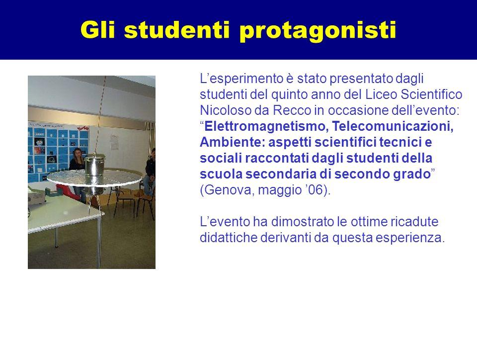 Gli studenti protagonisti Lesperimento è stato presentato dagli studenti del quinto anno del Liceo Scientifico Nicoloso da Recco in occasione delleven