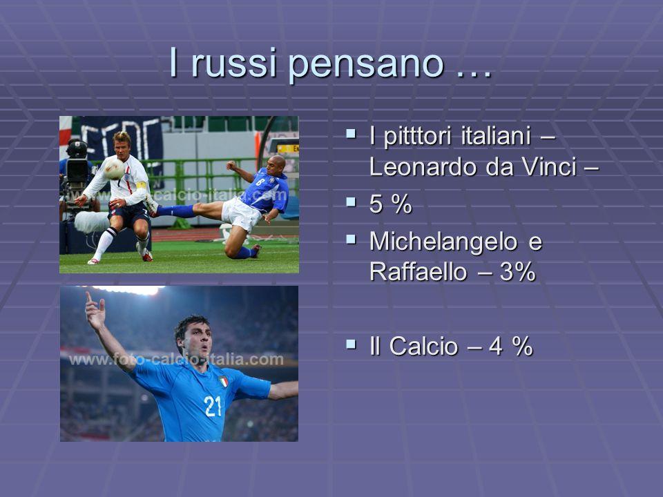 I russi pensano … I pitttori italiani – Leonardo da Vinci – I pitttori italiani – Leonardo da Vinci – 5 % 5 % Michelangelo e Raffaello – 3% Michelange