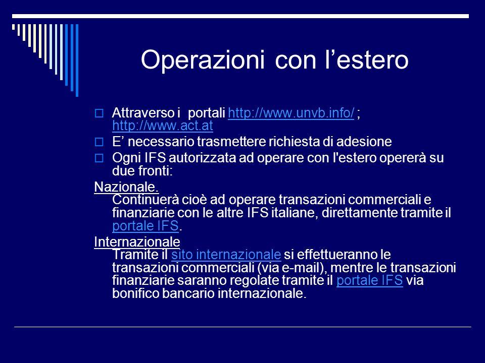 Operazioni con lestero Attraverso i portali http://www.unvb.info/ ; http://www.act.athttp://www.unvb.info/ http://www.act.at E necessario trasmettere richiesta di adesione Ogni IFS autorizzata ad operare con l estero opererà su due fronti: Nazionale.