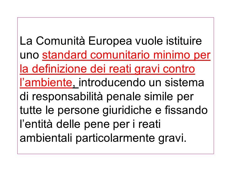 La Comunità Europea vuole istituire uno standard comunitario minimo per la definizione dei reati gravi contro lambiente, introducendo un sistema di responsabilità penale simile per tutte le persone giuridiche e fissando lentità delle pene per i reati ambientali particolarmente gravi.
