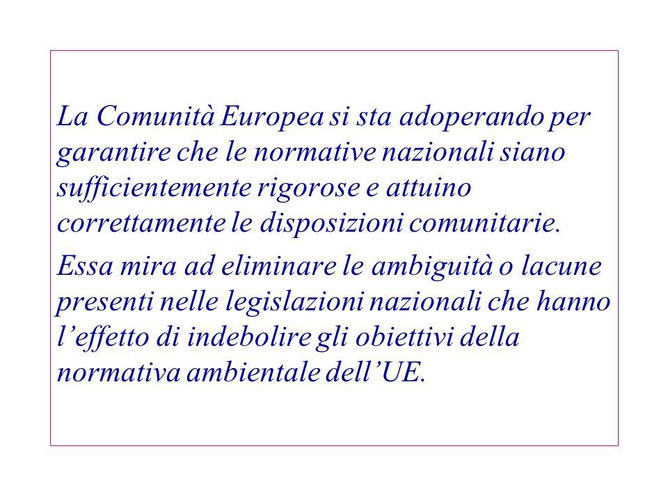 La Comunità Europea si sta adoperando per garantire che le normative nazionali siano sufficientemente rigorose e attuino correttamente le disposizioni comunitarie.