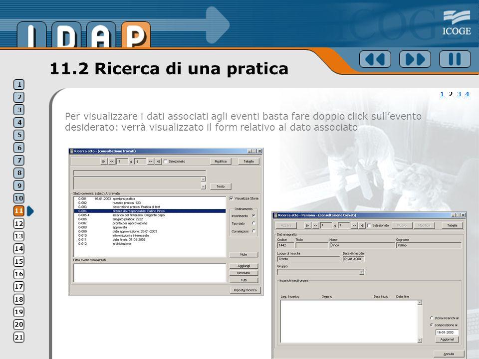 11.2 Ricerca di una pratica Per visualizzare i dati associati agli eventi basta fare doppio click sullevento desiderato: verrà visualizzato il form re