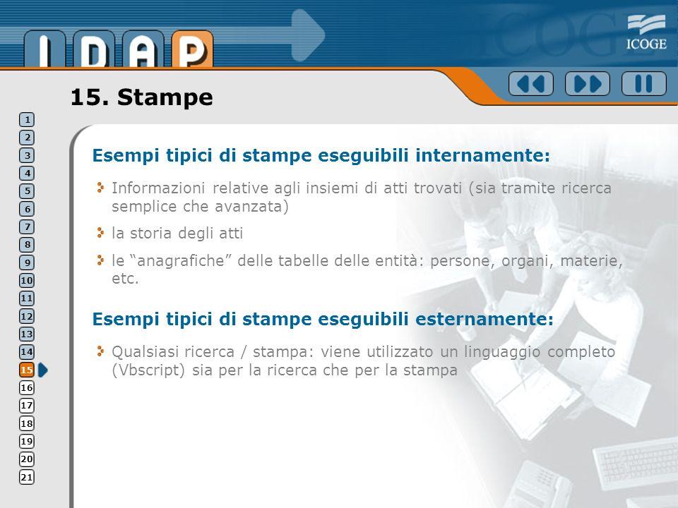 15. Stampe Esempi tipici di stampe eseguibili internamente: Informazioni relative agli insiemi di atti trovati (sia tramite ricerca semplice che avanz