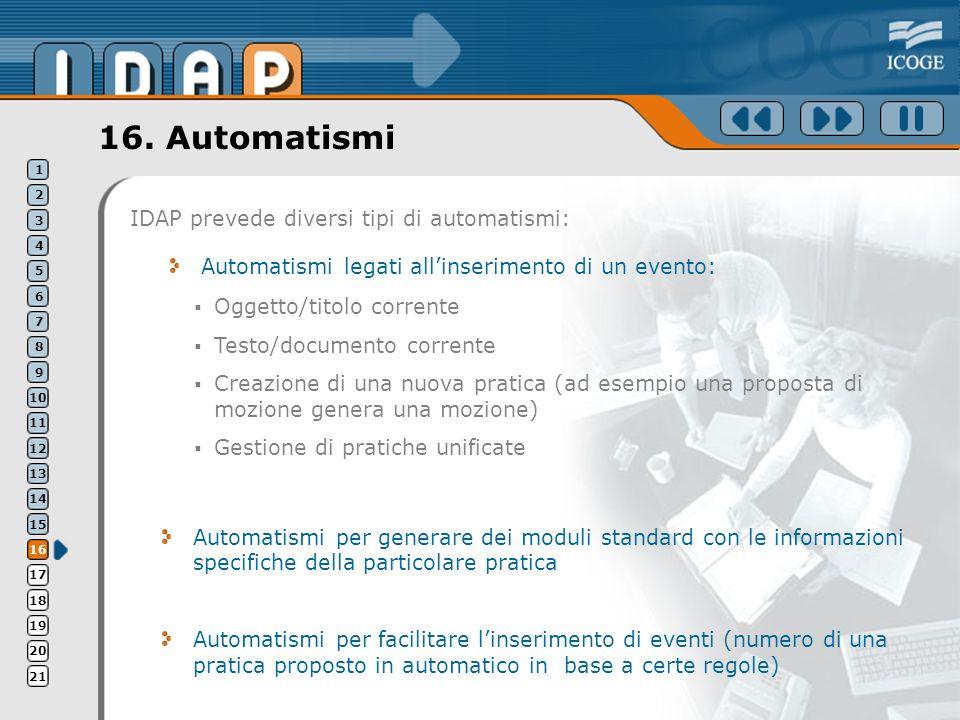 16. Automatismi IDAP prevede diversi tipi di automatismi: Automatismi legati allinserimento di un evento: Automatismi per generare dei moduli standard