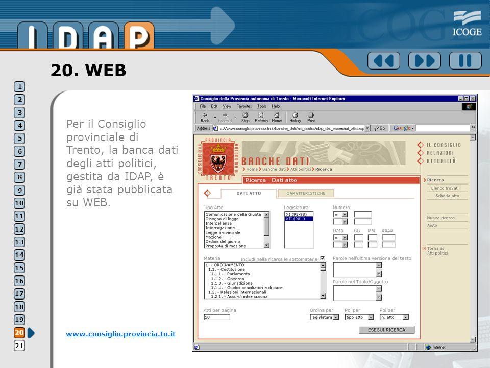 20. WEB Per il Consiglio provinciale di Trento, la banca dati degli atti politici, gestita da IDAP, è già stata pubblicata su WEB. www.consiglio.provi
