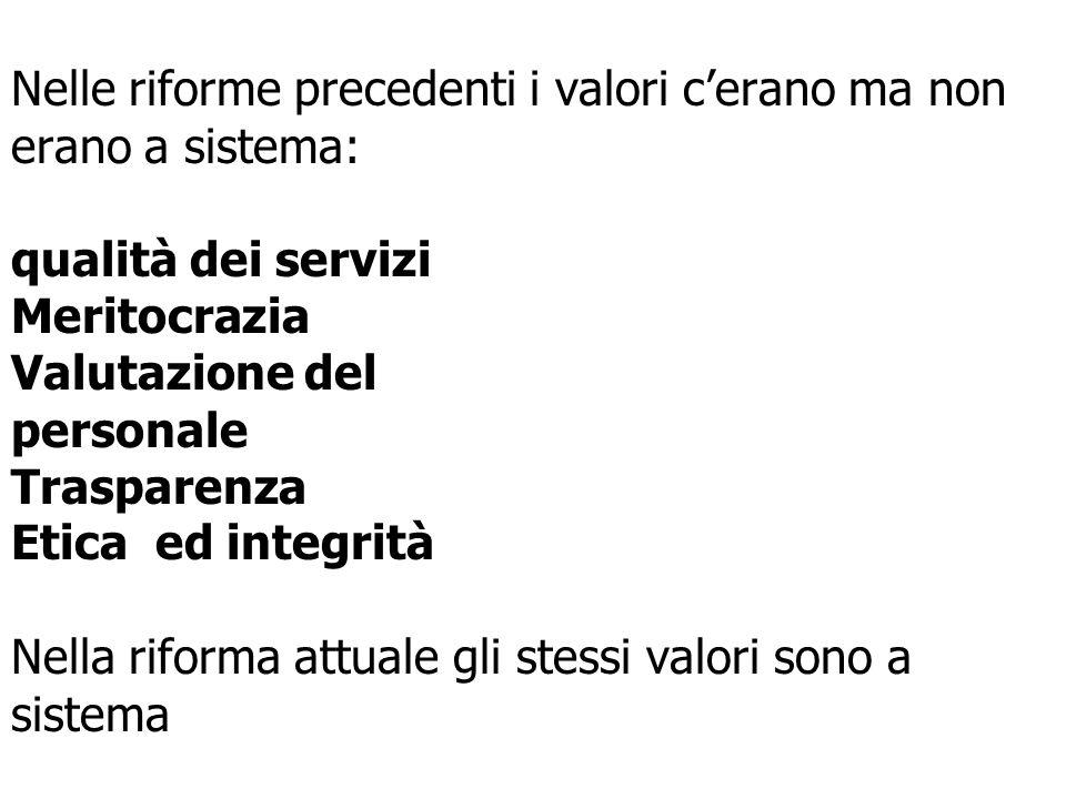 16 Nelle riforme precedenti i valori cerano ma non erano a sistema: qualità dei servizi Meritocrazia Valutazione del personale Trasparenza Etica ed integrità Nella riforma attuale gli stessi valori sono a sistema