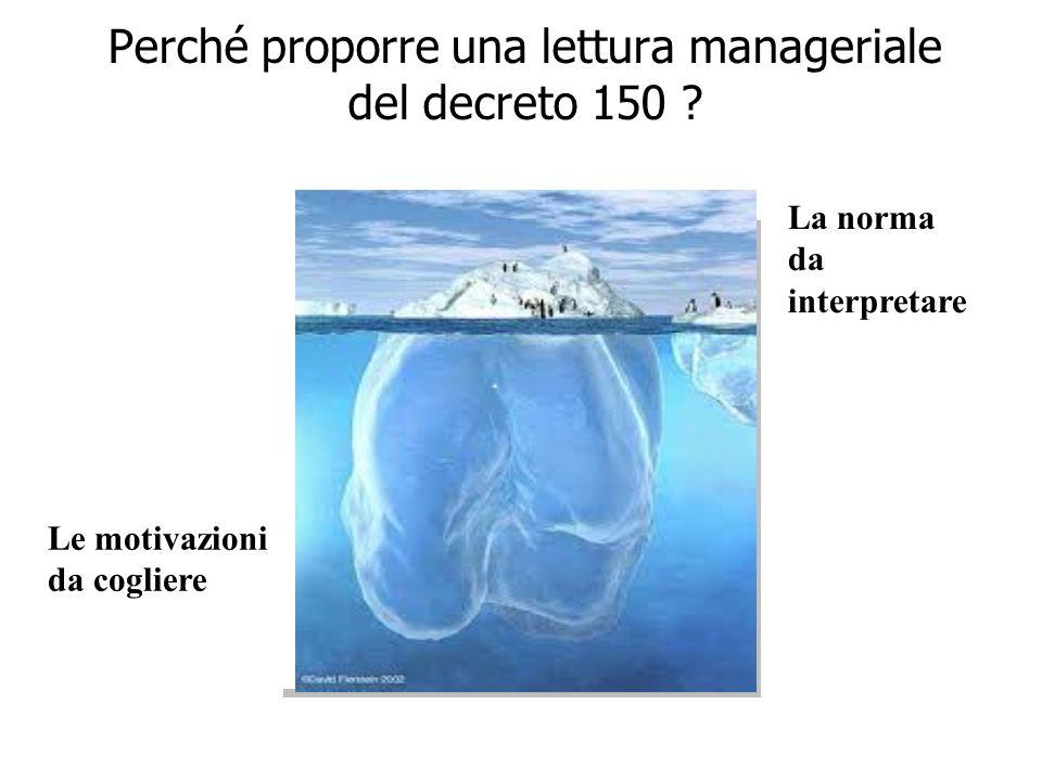 2 Perché proporre una lettura manageriale del decreto 150 .