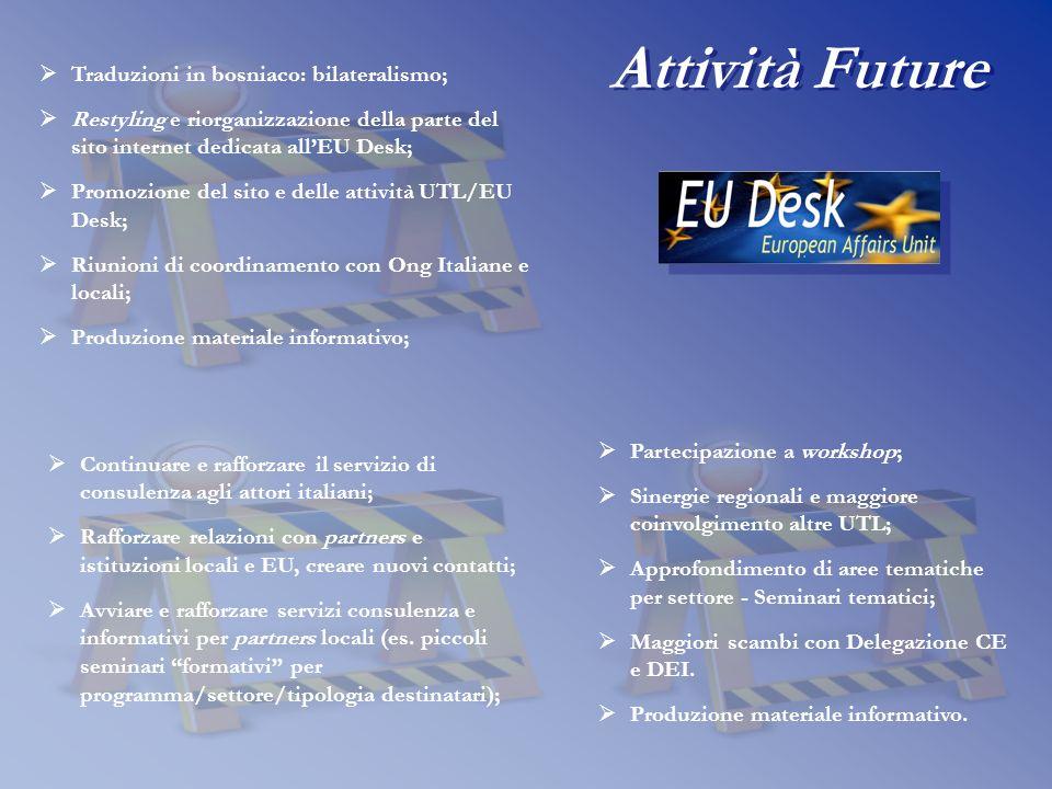 Traduzioni in bosniaco: bilateralismo; Restyling e riorganizzazione della parte del sito internet dedicata allEU Desk; Promozione del sito e delle att