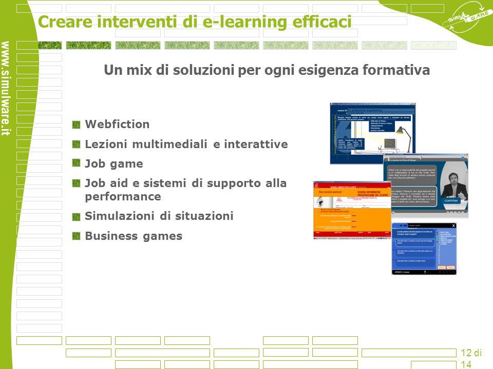 Creare interventi di e-learning efficaci 12 di 14 Un mix di soluzioni per ogni esigenza formativa Webfiction Lezioni multimediali e interattive Job ga