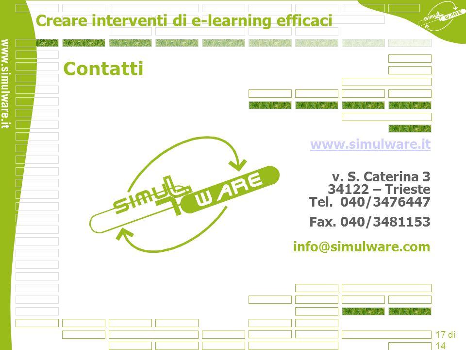 Creare interventi di e-learning efficaci 17 di 14 www.simulware.it v. S. Caterina 3 34122 – Trieste Tel. 040/3476447 Fax. 040/3481153 info@simulware.c