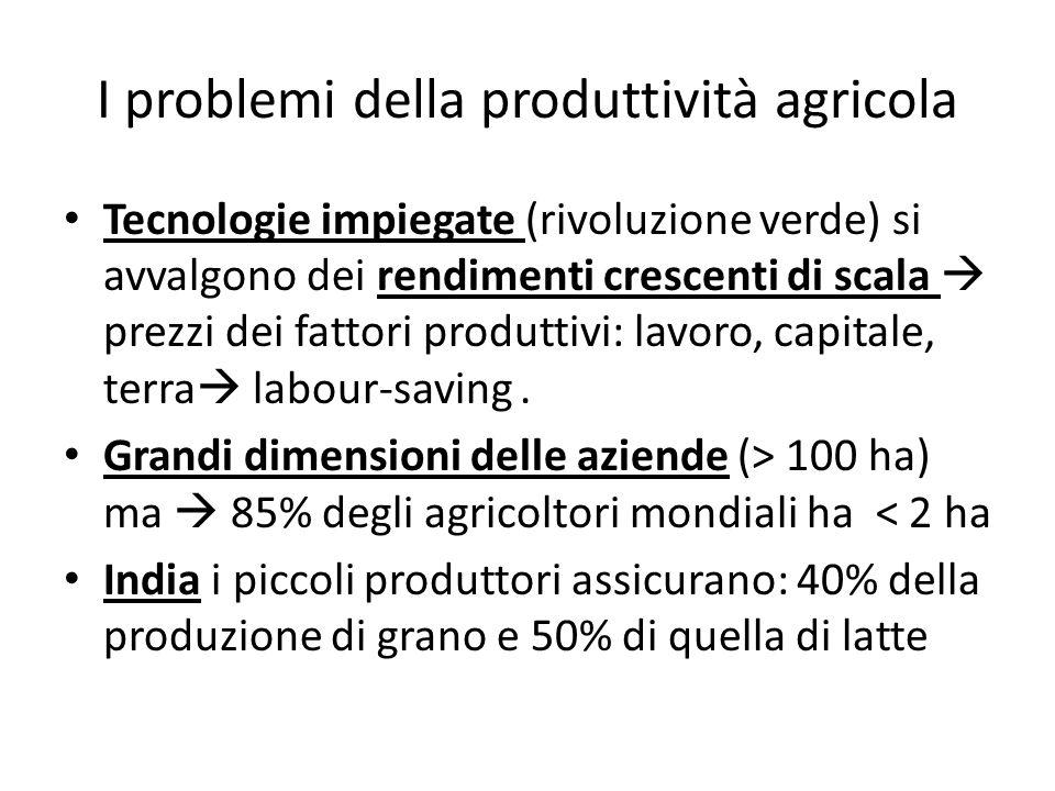 I problemi della produttività agricola Tecnologie impiegate (rivoluzione verde) si avvalgono dei rendimenti crescenti di scala prezzi dei fattori produttivi: lavoro, capitale, terra labour-saving.