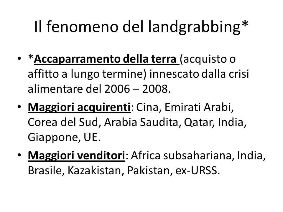 Il fenomeno del landgrabbing* *Accaparramento della terra (acquisto o affitto a lungo termine) innescato dalla crisi alimentare del 2006 – 2008.