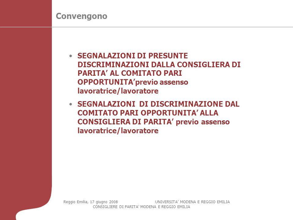 Convengono Reggio Emilia, 17 giugno 2008 UNIVERSITA MODENA E REGGIO EMILIA CONSIGLIERE DI PARITA MODENA E REGGIO EMILIA SEGNALAZIONI DI PRESUNTE DISCRIMINAZIONI DALLA CONSIGLIERA DI PARITA AL COMITATO PARI OPPORTUNITAprevio assenso lavoratrice/lavoratore SEGNALAZIONI DI DISCRIMINAZIONE DAL COMITATO PARI OPPORTUNITA ALLA CONSIGLIERA DI PARITA previo assenso lavoratrice/lavoratore
