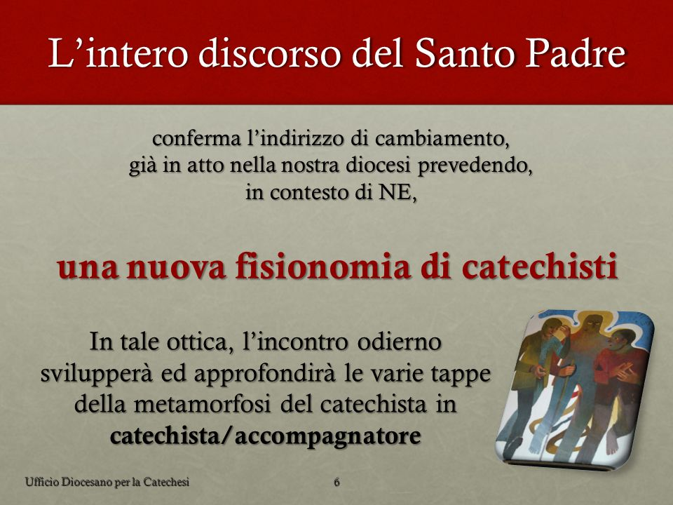 Lintero discorso del Santo Padre In tale ottica, lincontro odierno svilupperà ed approfondirà le varie tappe della metamorfosi del catechista in catec