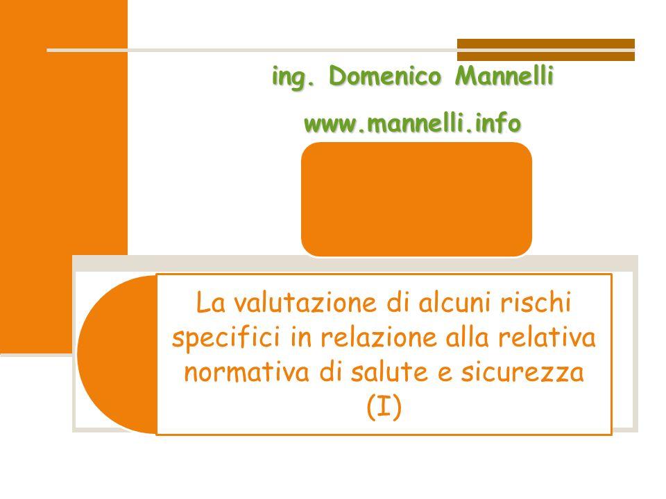 La valutazione di alcuni rischi specifici in relazione alla relativa normativa di salute e sicurezza (I)ing. Domenico Mannelli www.mannelli.info
