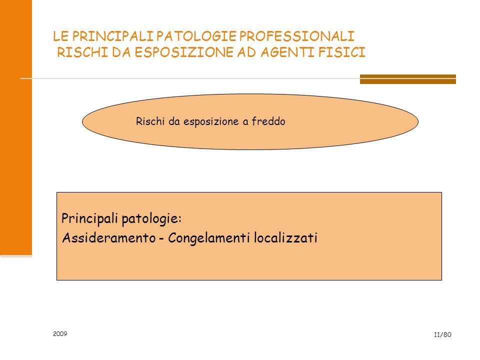 2009 11/80 LE PRINCIPALI PATOLOGIE PROFESSIONALI RISCHI DA ESPOSIZIONE AD AGENTI FISICI Rischi da esposizione a freddo Principali patologie: Assideram