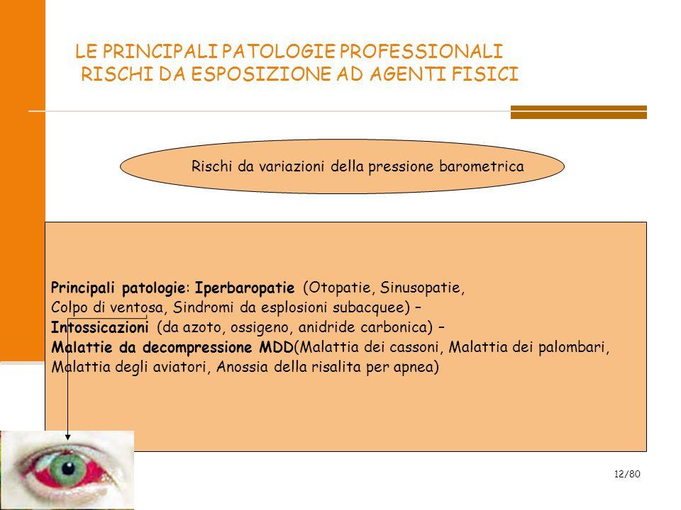 2009 12/80 LE PRINCIPALI PATOLOGIE PROFESSIONALI RISCHI DA ESPOSIZIONE AD AGENTI FISICI Rischi da variazioni della pressione barometrica Principali pa