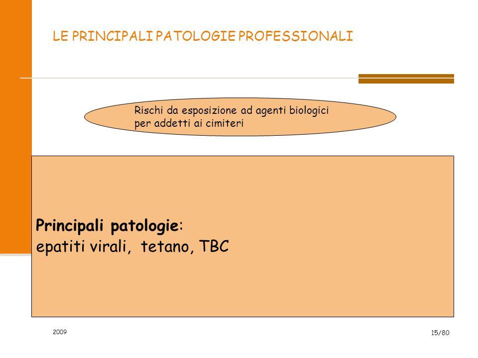 2009 15/80 LE PRINCIPALI PATOLOGIE PROFESSIONALI Rischi da esposizione ad agenti biologici per addetti ai cimiteri Principali patologie: epatiti viral