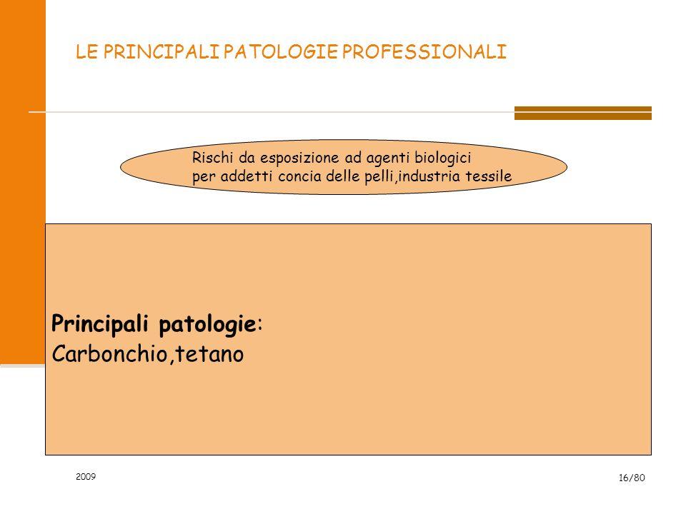 2009 16/80 LE PRINCIPALI PATOLOGIE PROFESSIONALI Rischi da esposizione ad agenti biologici per addetti concia delle pelli,industria tessile Principali