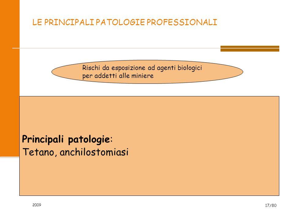 2009 17/80 LE PRINCIPALI PATOLOGIE PROFESSIONALI Rischi da esposizione ad agenti biologici per addetti alle miniere Principali patologie: Tetano, anch