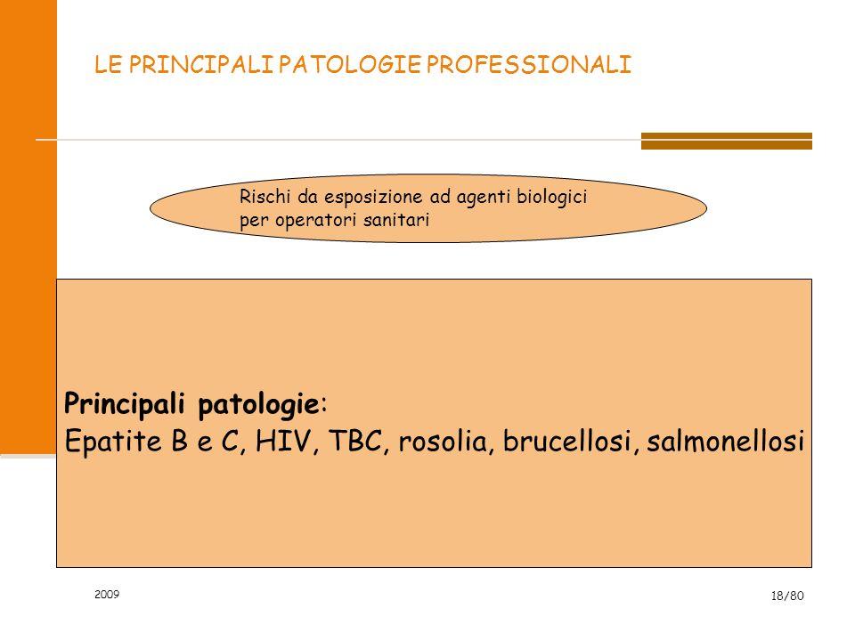 2009 18/80 LE PRINCIPALI PATOLOGIE PROFESSIONALI Rischi da esposizione ad agenti biologici per operatori sanitari Principali patologie: Epatite B e C,
