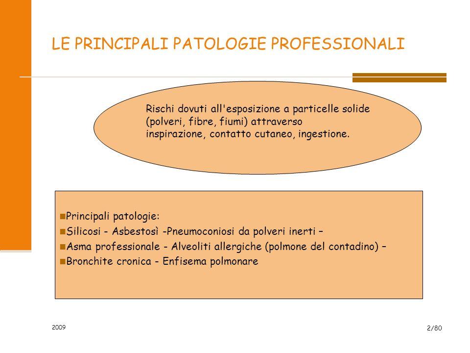 2009 2/80 LE PRINCIPALI PATOLOGIE PROFESSIONALI Principali patologie: Silicosi - Asbestosì -Pneumoconiosi da polveri inerti – Asma professionale - Alv