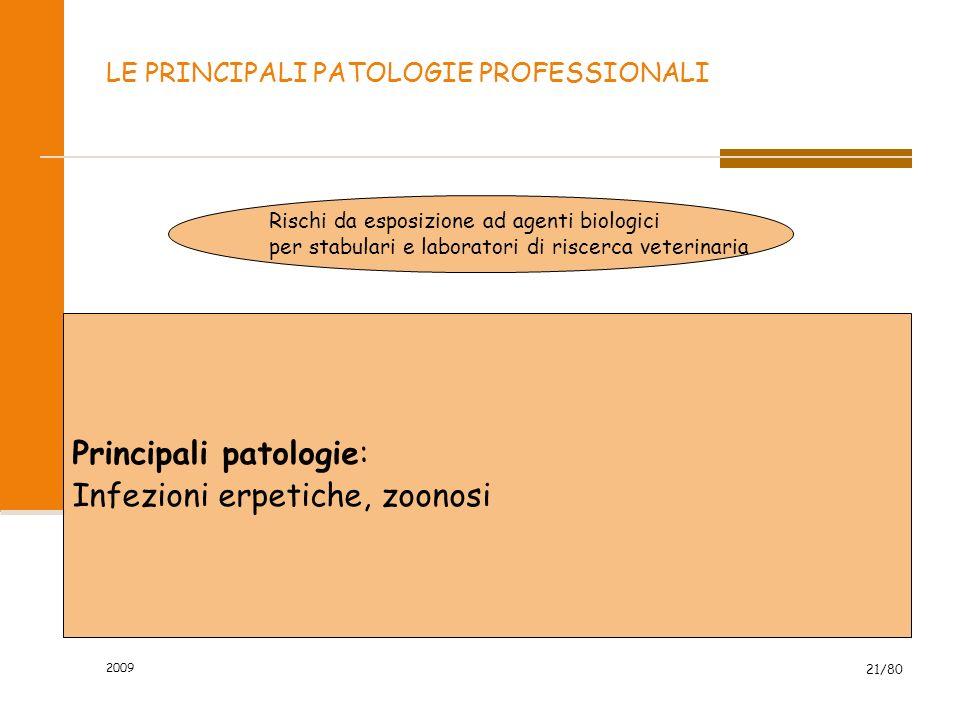 2009 21/80 LE PRINCIPALI PATOLOGIE PROFESSIONALI Rischi da esposizione ad agenti biologici per stabulari e laboratori di riscerca veterinaria Principa