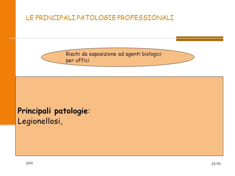 2009 22/80 LE PRINCIPALI PATOLOGIE PROFESSIONALI Rischi da esposizione ad agenti biologici per uffici Principali patologie: Legionellosi,